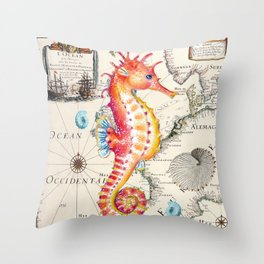 Red Seahorse Sea Throw Pillow