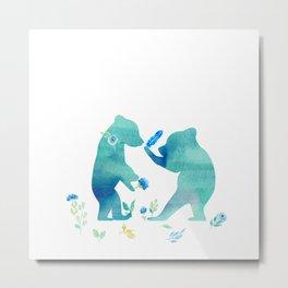 Playing bear kids - Watercolor animal illustration Metal Print