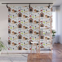 Beagle Half Drop Repeat Pattern Wall Mural