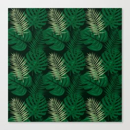 Tropical Leaves Green Canvas Print