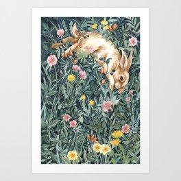 Rabbit & Moody Florals Art Print