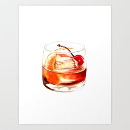 Cocktails. Old Fashioned. Watercolor Painting. Art Print