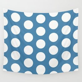 Large Polka Dots on Blue Wall Tapestry
