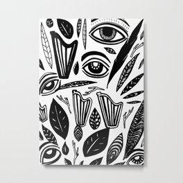 Eye Harp Leaves Metal Print