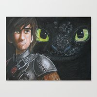 hiccup Canvas Prints featuring Hiccup and Toothless by Meliese Reid