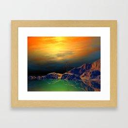 Sonnenuntergang über der Insel Framed Art Print