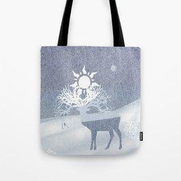 a deer with nine horns is bringing back the sun~ illustration  Tote Bag