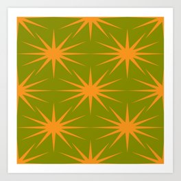 Mid-Century Modern Art | Starburst Orange Avocado Art Print