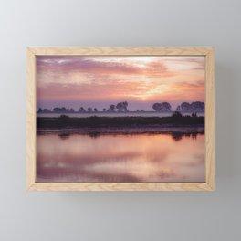 Beautiful purple-orange sunrise over the river in Poland Framed Mini Art Print