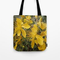 marc johns Tote Bags featuring Beautiful St Johns Wort by Wendy Townrow