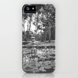 Pond in Recreation Area in B&W iPhone Case