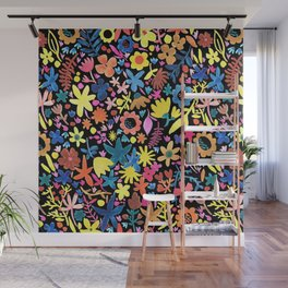 Autumm´s flowers and black Wall Mural