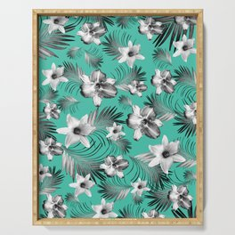 Tropical Flowers Palm Leaves Finesse #5 #tropical #decor #art #society6 Serving Tray
