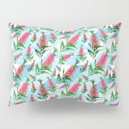 Beautiful Pink Australian Natives on Blue Geometric Background Pillow Sham