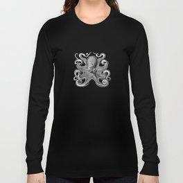 Octopus1 (Black & White, Square) Long Sleeve T-shirt