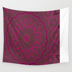 Lovely Healing Mandalas in Brilliant Colors: Plum, Copper, and Pink Wall Tapestry