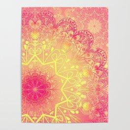 Mandala in Rose and Lemon Poster