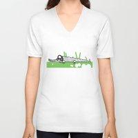 crocodile V-neck T-shirts featuring Crocodile by Josè Sala