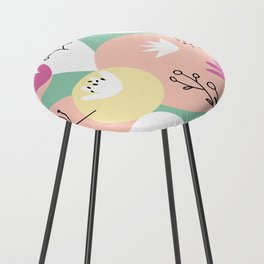 Pop of Color and Doodles Counter Stool