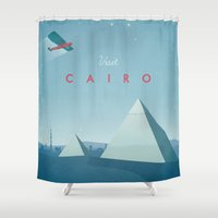 travel poster Shower Curtains featuring Cairo - Vintage Travel Poster by Travel Poster Co.