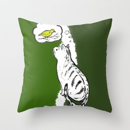 Cat Thinking of a Birdy Throw Pillow