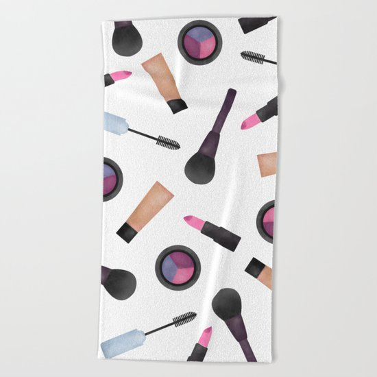 Scattered Makeup Pattern Beach Towel