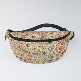 Beige and gold many circles acrylic dot art Fanny Pack