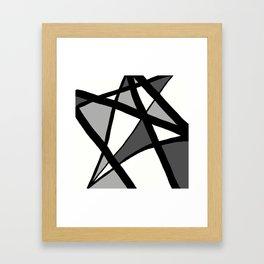 Geometric Line Abstract - Black Gray White Framed Art Print