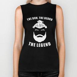 The Bun The Beard The Legend Funny Man Bun Biker Tank
