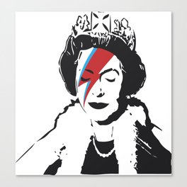 Queen Elizabeth As Ziggy, Banksy, Streetart Street Art, Stardust Grafitti, Artwork, Design For Men, Canvas Print