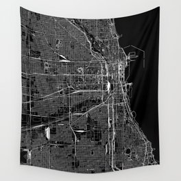 Chicago Black Map Wall Tapestry