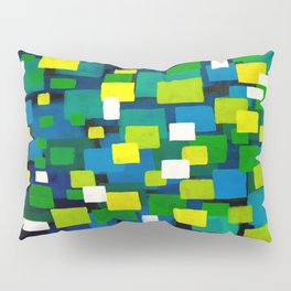 "Original Abstract Acrylic Painting by  ""City Lights"" Colorful Geometric Square Pattern Gre Pillow Sham"