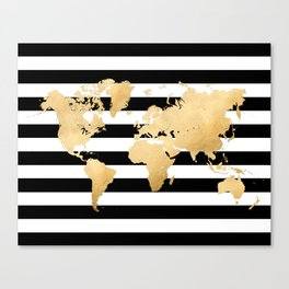 Gold world map black and white stripes Canvas Print