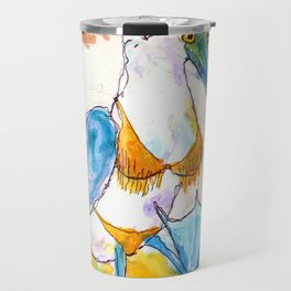 Bikini Baring Blue Footed Booby Travel Mug