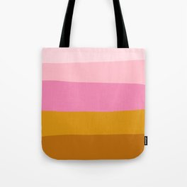 Abstract Organic Color Blocking in Pink and Honey Gold Tote Bag