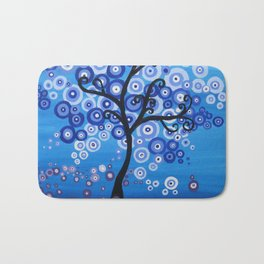 blue sea, tree of life - shades of blue with bubble leaves Bath Mat