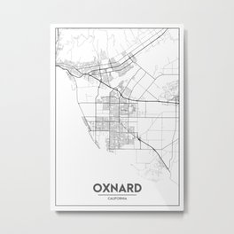 Minimal City Maps - Map Of Oxnard, California, United States Metal Print