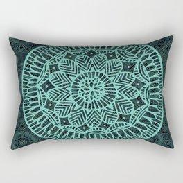 Blue Doodle Mandala Rectangular Pillow