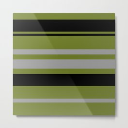 Green Gray and Black Stripes Metal Print