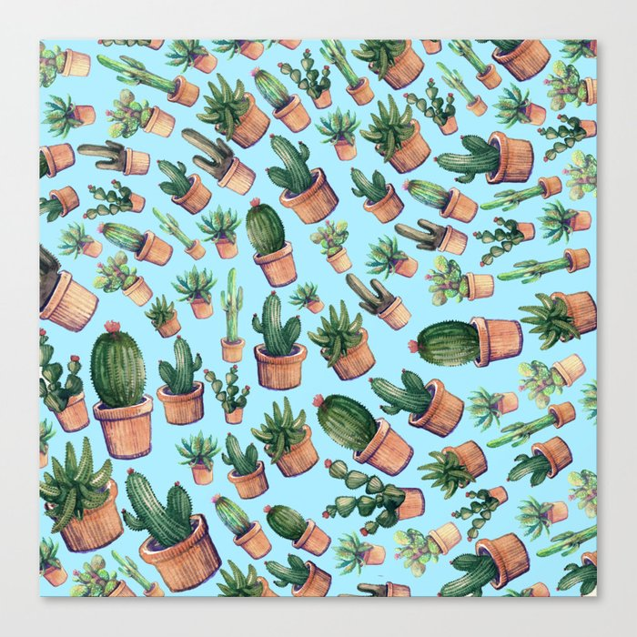 Blue cactus invasion Canvas Print