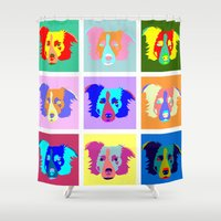 border collie Shower Curtains featuring Border Collie Pop Art by Pound Designs