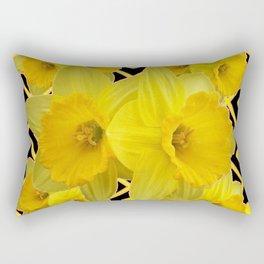 Black & Gold Pattern Daffodils Art Design Rectangular Pillow