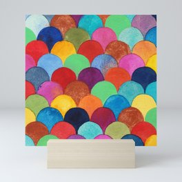 Bright and Colorful Watercolor Scales Pattern Mini Art Print