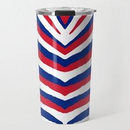UK British Union Jack Red White and Blue Zebra Stripes Travel Mug