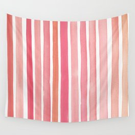 Pretty in Pink Watercolor Stripes Wall Tapestry