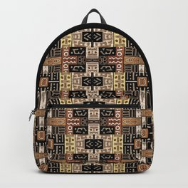 Runic Carved Wood Effect Tribal Pattern Backpack