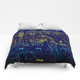 Chicago city lights at night Comforters