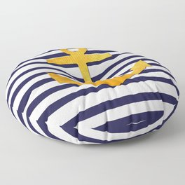 Marine pattern - blue white striped with golden anchor Floor Pillow