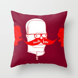 Documenting the Discovery of the Handlebar Mustache Throw Pillow