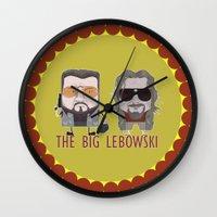 big lebowski Wall Clocks featuring The Big Lebowski by Francesco Dibattista
